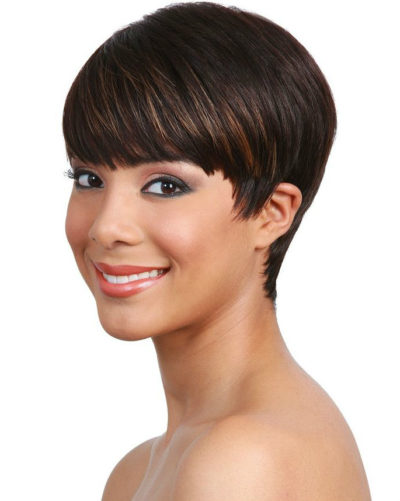 woman with short human hair wig